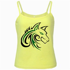 Blue And Black Wolf Head Outline Facing Right Side Yellow Spaghetti Tank