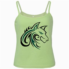 Blue And Black Wolf Head Outline Facing Right Side Green Spaghetti Tank