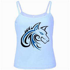 Blue And Black Wolf Head Outline Facing Right Side Baby Blue Spaghetti Tank