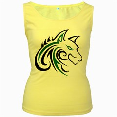 Blue And Black Wolf Head Outline Facing Right Side Women s Yellow Tank Top