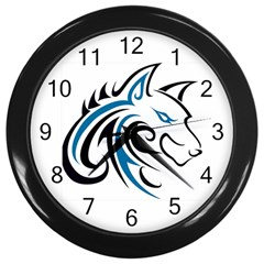 Blue And Black Wolf Head Outline Facing Right Side Wall Clock (Black)