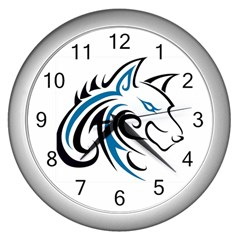 Blue And Black Wolf Head Outline Facing Right Side Wall Clock (Silver)