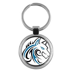 Blue And Black Wolf Head Outline Facing Right Side Key Chain (Round)