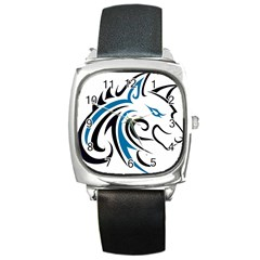 Blue And Black Wolf Head Outline Facing Right Side Square Metal Watch