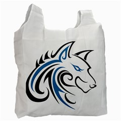 Blue And Black Wolf Head Outline Facing Right Side Recycle Bag (two Side)