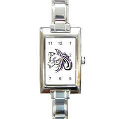 Purple and Black Wolf Head Outline Facing Left Side Rectangular Italian Charm Watch