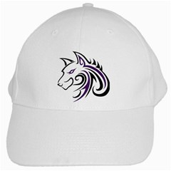Purple and Black Wolf Head Outline Facing Left Side White Cap