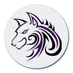Purple And Black Wolf Head Outline Facing Left Side Round Mousepad
