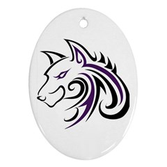 Purple And Black Wolf Head Outline Facing Left Side Ornament (oval)