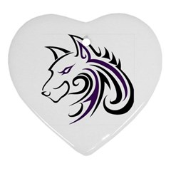 Purple and Black Wolf Head Outline Facing Left Side Ornament (Heart)