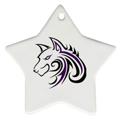 Purple and Black Wolf Head Outline Facing Left Side Ornament (Star)