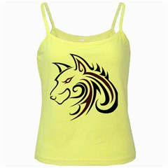 Purple and Black Wolf Head Outline Facing Left Side Yellow Spaghetti Tank