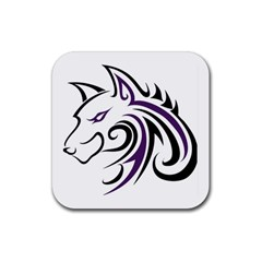 Purple And Black Wolf Head Outline Facing Left Side Rubber Coaster (square)