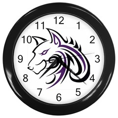 Purple and Black Wolf Head Outline Facing Left Side Wall Clock (Black)