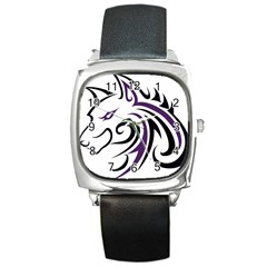 Purple and Black Wolf Head Outline Facing Left Side Square Metal Watch