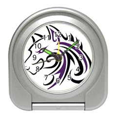 Purple and Black Wolf Head Outline Facing Left Side Travel Alarm Clock