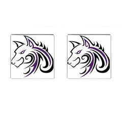 Purple and Black Wolf Head Outline Facing Left Side Cufflinks (Square)