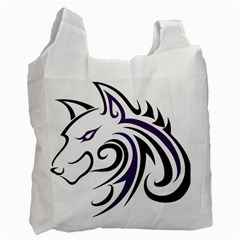 Purple and Black Wolf Head Outline Facing Left Side Recycle Bag (Two Side)