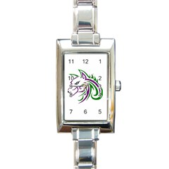 Purple and Green Wolf Head Outline Facing Left Side Rectangular Italian Charm Watch