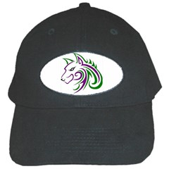 Purple and Green Wolf Head Outline Facing Left Side Black Cap