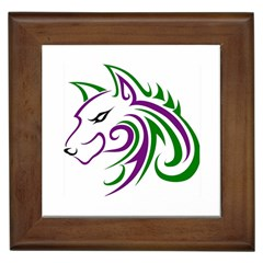 Purple and Green Wolf Head Outline Facing Left Side Framed Tile