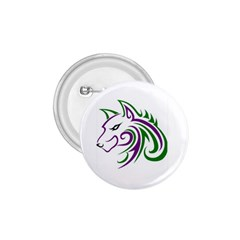 Purple And Green Wolf Head Outline Facing Left Side 1 75  Button
