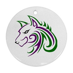 Purple and Green Wolf Head Outline Facing Left Side Ornament (Round)