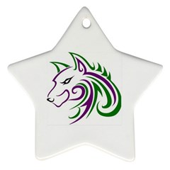 Purple and Green Wolf Head Outline Facing Left Side Ornament (Star)