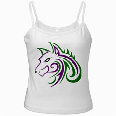 Purple And Green Wolf Head Outline Facing Left Side White Spaghetti Tank
