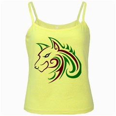 Purple And Green Wolf Head Outline Facing Left Side Yellow Spaghetti Tank