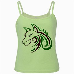 Purple and Green Wolf Head Outline Facing Left Side Green Spaghetti Tank