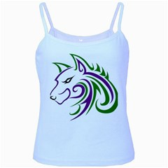 Purple And Green Wolf Head Outline Facing Left Side Baby Blue Spaghetti Tank