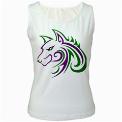 Purple and Green Wolf Head Outline Facing Left Side Women s Tank Top