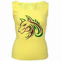 Purple and Green Wolf Head Outline Facing Left Side Women s Yellow Tank Top