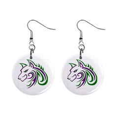 Purple and Green Wolf Head Outline Facing Left Side 1  Button Earrings