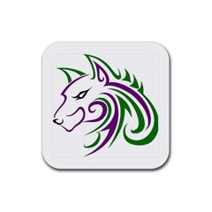 Purple And Green Wolf Head Outline Facing Left Side Rubber Square Coaster (4 Pack)
