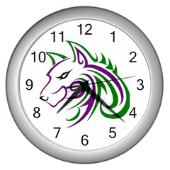 Purple and Green Wolf Head Outline Facing Left Side Wall Clock (Silver)