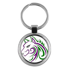 Purple And Green Wolf Head Outline Facing Left Side Key Chain (round)