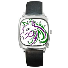 Purple And Green Wolf Head Outline Facing Left Side Square Metal Watch