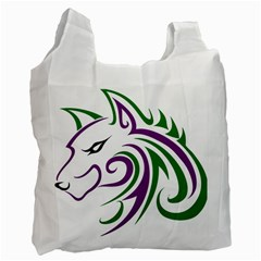 Purple and Green Wolf Head Outline Facing Left Side Recycle Bag (One Side)
