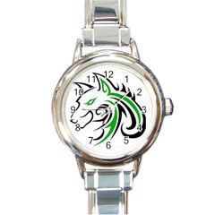 Green And Black Wolf Head Outline Facing Left Side Round Italian Charm Watch