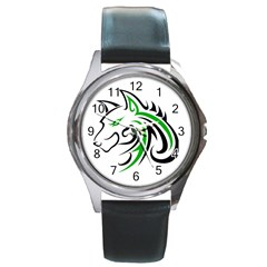 Green And Black Wolf Head Outline Facing Left Side Round Metal Watch
