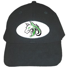 Green And Black Wolf Head Outline Facing Left Side Black Cap