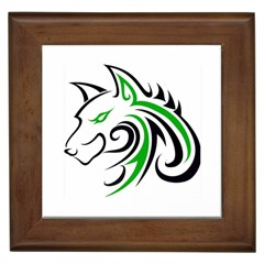 Green And Black Wolf Head Outline Facing Left Side Framed Tile