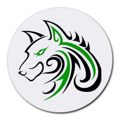 Green And Black Wolf Head Outline Facing Left Side Round Mousepad