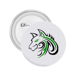 Green and Black Wolf Head Outline Facing Left Side 2.25  Button