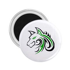 Green and Black Wolf Head Outline Facing Left Side 2.25  Magnet