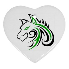 Green and Black Wolf Head Outline Facing Left Side Ornament (Heart)