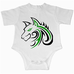Green and Black Wolf Head Outline Facing Left Side Infant Creeper