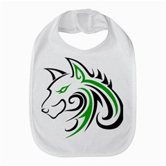 Green and Black Wolf Head Outline Facing Left Side Bib